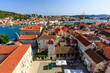 Aerial View on Trogir and it's Main Square from Cathedral of Sai