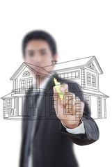 Businessman drawing house plan for construction