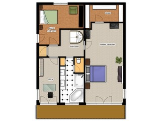 2D floor plan of the house second level.