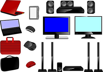 laptop, accessories, TV, home theater