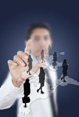Businessman pushing people Social Network.