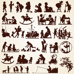 Children silhouettes, vector set of thirty various occasions