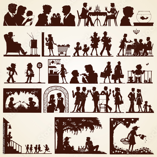 Family silhouettes, vector set of twenty various occasions