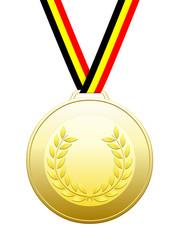 Médaille d'or avec ruban couleurs belges