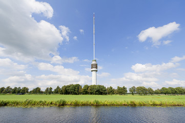 Tv-tower in Dutch landscape