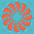 2013 calendar round-shaped flower  turquoise and coral