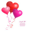 3 Heart Balloons Different Colors