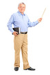 Male teacher holding a wand and book