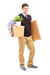 Full length portrait of a person with moving box and other stuff