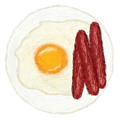 sunny side up egg and hotdogs