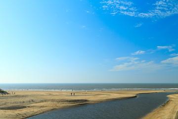 River estuary entering the sea on the Dutch coast