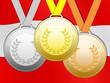 Medaillen mit österreichische Fahne