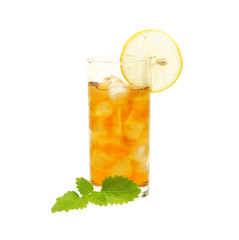 Glass of tea with lemon and lemon balm isolated on  white