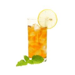 Glass of tea with lemon and lemon balm isolated on  white