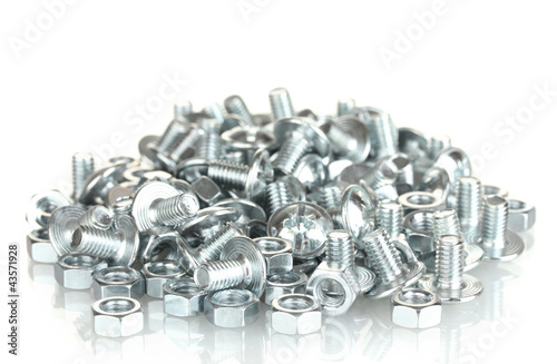 Poster Industrial geb. Chrome nuts and bolts on white background close-up