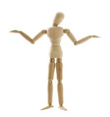 困惑したポーズをとった木製の人形
