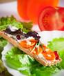 Healthy food, crispbread with vegetables