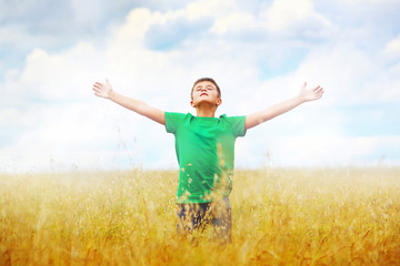 A boy standing in a field of wheat against cloudy sky background
