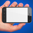 Hand holding smartphone on blue background. Generic mobile smart