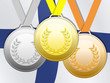Medals with finnish flag