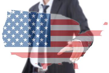 Businessman pushing USA flag map.