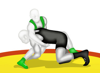 Wrestling : Two Wrestlers Wrestling in Action