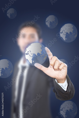 Businessman Holding Globe.