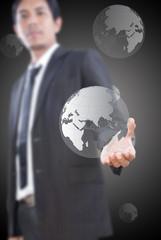 Businessman Holding Globe.