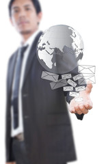 Businessman Holding Mail and Globe.