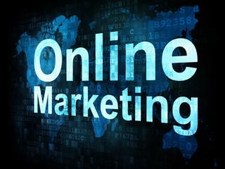 Marketing concept: pixelated words Online Marketing on digital s