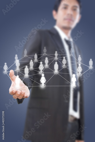 Businessman Holding People Social Network.