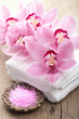spa and bath with orchids