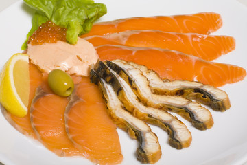 Fish platter with salmon caviar