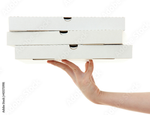 Deurstickers Klaar gerecht pizza box with hand , isolated on white background