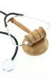Judges gavel and stethoscope