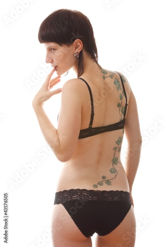 young woman in lingerie (white background)