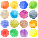 Fototapety Watercolor hand painted circles set
