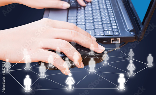 Business hand click mouse for social network.