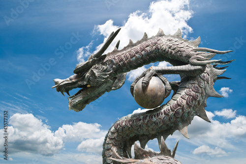 Chinese style Dragon statue on the blue sky field.