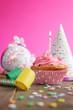 Birthday pink cupcake