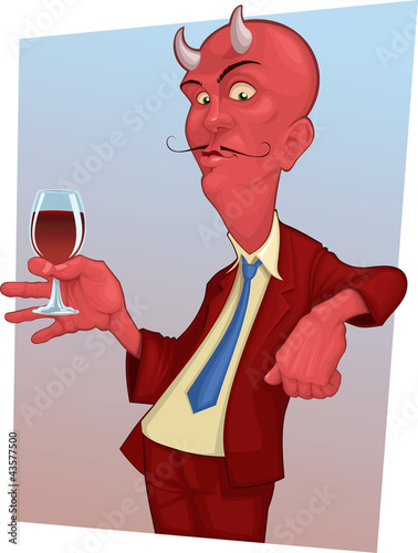 red mustachioed demon with a glass of wine