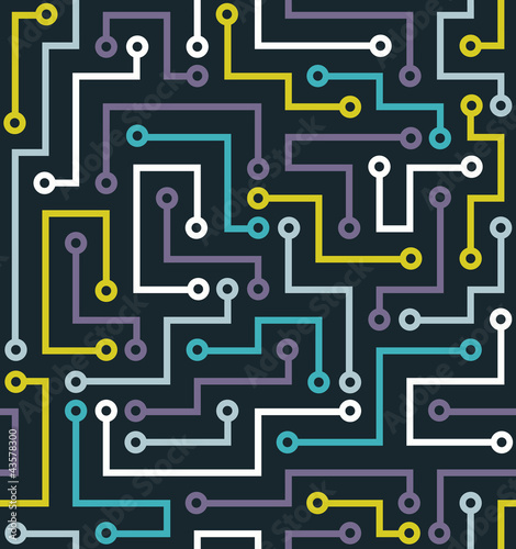 Fridge magnet Seamless color electronic pattern. Vector illustration