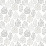 Seamless stylish leaf pattern. Grey on white. Vector