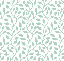 Seamless light blue leaf pattern. Vector illustration