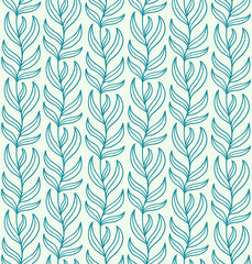 Seamless blue liana ornament. Vector illustration