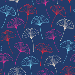 Seamless fashionable ginkgo pattern. Vector illustration