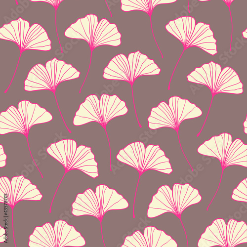 Beautiful seamless ginkgo pattern. Vector illustration © magnia