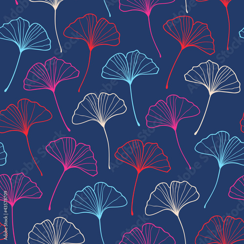 Seamless fashionable ginkgo pattern. Vector illustration © magnia