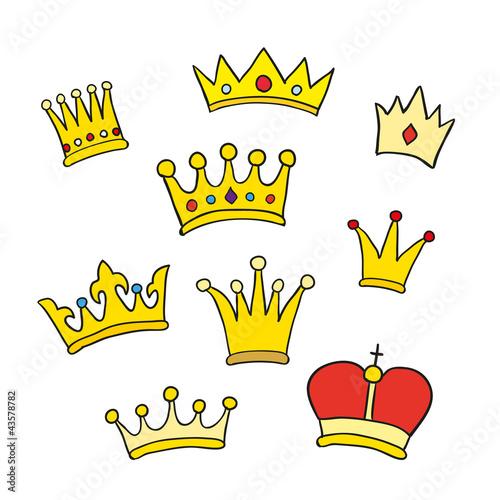 Hand drawn crowns. Vector illustration