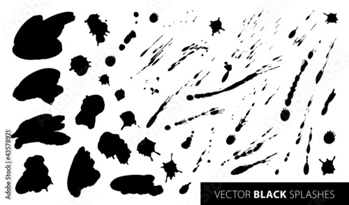 Set of black splashes. Vector